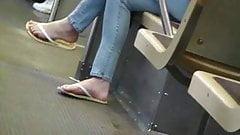 BBW on train sexy french pedi