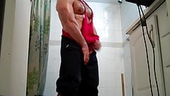 Showering Cumming muscle stud with hairy muscular chest