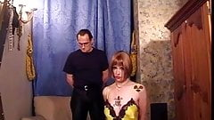 Hottie in yellow lingerie bound and spanked by her master