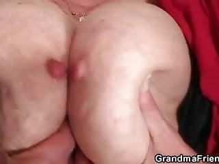 Nasty oldie takes two hard dicks