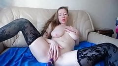 sexy pale white girl plays with herself