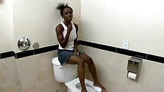 Cute Black Teen Perfect Body fucks in toilet FHD
