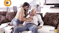 OLD4K. Hot old and young fucking scene ends