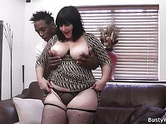 Plump bitch in fishnets rides black meat