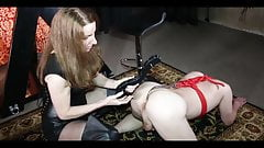 Mistress playing with her slave pet