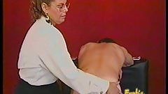 Kinky dude receives some hardcore spanking from a bespectacl