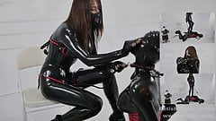 Latex Mistress breathplay and whipped latex salve