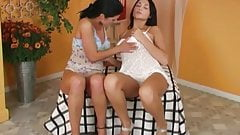 Brunette lesbian bitches with sex toys