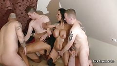 2 German Monster Tit MILFs get fucked in Gangbang