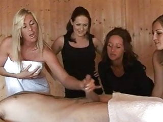 Sexy femdom tugging in front of voyeurs