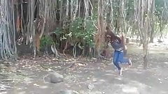 sexy girl doing selfie in forest.mp4