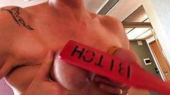 Slapping  bondage tits slave