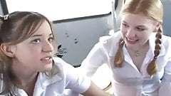 Teens schoolbus lucky day
