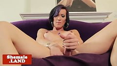Trans beauty rubbing cock solo after teasing