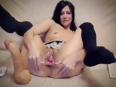 Kristina gapes her pussy and pisses a bit
