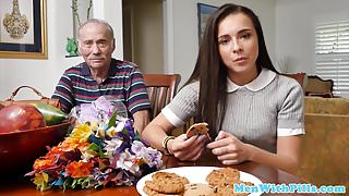 Rimmed teen beauty takes grandpa cum in mouth