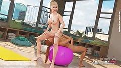 Blonde and redhead beauties having futanari sex in the yoga