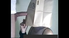 Girlfriend Blowjob with Paper Bag on Head