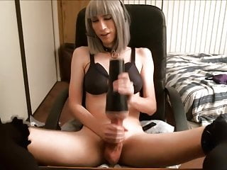 Amazing Silver Haired Tranny Trying Her New Fleshlght