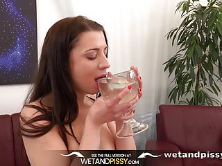 Piss Drinking - Teressa Bizarre tastes her pee and teases he