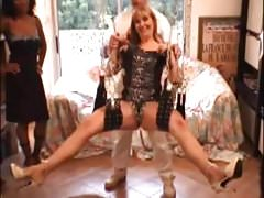 Gangbang for one blonde mature and one cute ebony