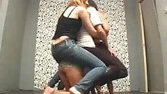 3 Girls rides ponygirl