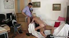 Old bitch swallows two dicks for work