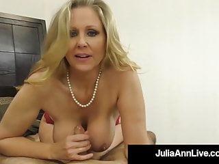 Cock Craving Cougar Julia Ann Gives Lucky Cock Handjob Bj