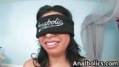 Blindfolded busty latina sucking big