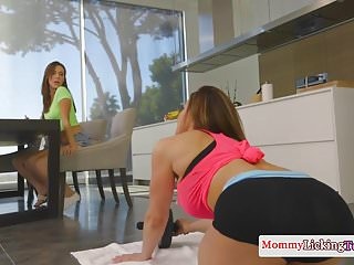 Sneaky bigtitted fitness MILF rimmed by teen
