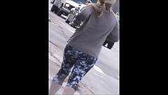 blonde jogging slow motion ass