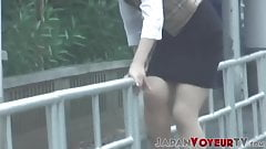 Voyeur video of young Japanese babe finger fucking herself