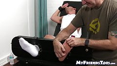 Restrained stud gets a tickle torture