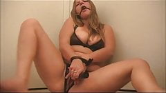 Ballgagged Chubby Teen GF playing with her Pussy