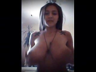 Cute Petite Teen Shows Her Big Titties