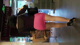 candid chinese woman with pantyhose