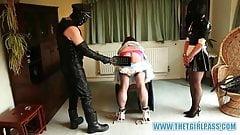 Naughty TGirl maids get bondage and ass spanking punishment