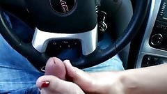 Footjob in car