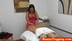 Asian spycam masseuse wanking her client