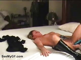 Boyfriend toying his girlfriend's shaved pussy