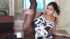 Asian Babe In Black Pantyhose JOI