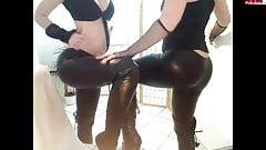tow girls in shiny leggings