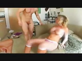 Busty MILF gets doubled & cum in both holes