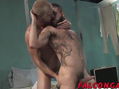 Big dick blond hunk barebacking this hot sexy brunette dude
