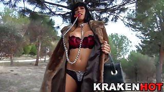 Krakenhot - Public provocation outdoor with brunette milf