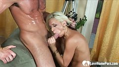Mesmerizing blonde cannot have enough of him