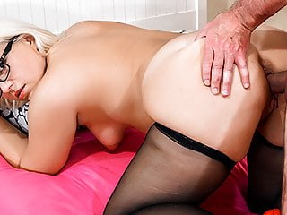 HITZEFREI Thick German blonde Mariella Sun fucks an older ma