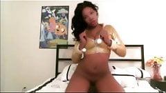 Nice black teen on her bed