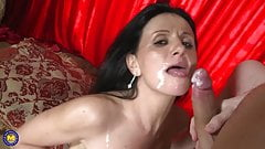 Beautiful mom fucks young son and gets facial