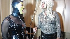 Tv Domina Bernadette commands her sissy slut to suck a guest